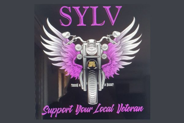 SYLV Support Your Local Veteran black t-shirt with purple design. Also available in white.