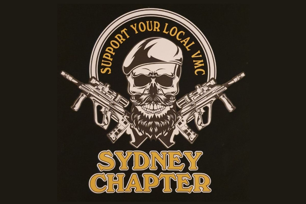Support Your Local VMC Sydney Chapter black t-shirt with yellow design