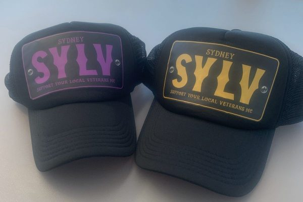 Sydney Support Your Local Veterans (SYLV) Motorcycle Club Black Cap Hat with purple or yellow design